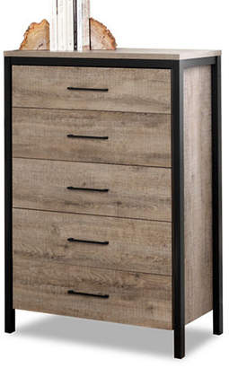 Munich SOUTH SHORE Five-Drawer Chest - Weathered Oak and Matte Black