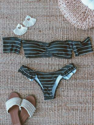 Goodnight Macaroon 'Sabby' Striped Ruffle Bikini