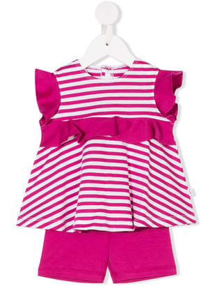 Il Gufo striped top and shorts set