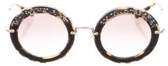 Miu Miu Round Embellished Sunglasses w/ Tags