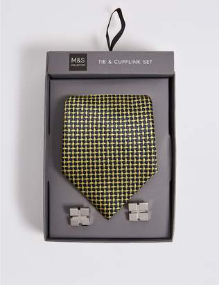 Marks and Spencer Mini Geometric Tie & Cufflink Set