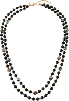 Emily and Ashley Greenbeads By Black Floral Double-Strand Necklace