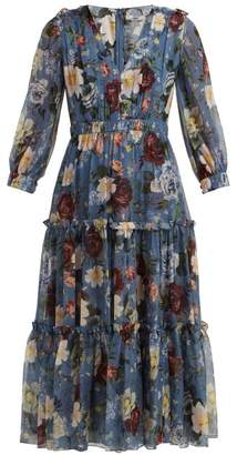 Erdem Elspeth Gertrude Wallpaper Print Silk Midi Dress - Womens - Blue Multi