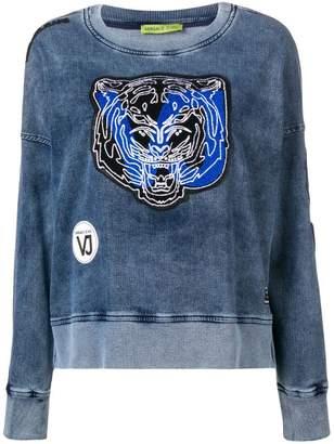 Versace tiger patch applique washed sweatshirt