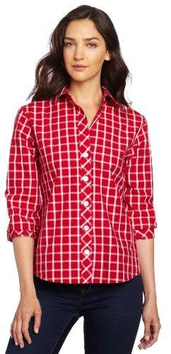 Foxcroft Women's Windowpane Check Printed Shirt