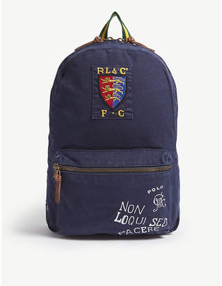 Polo Ralph Lauren Navy Blue Printed Canvas Backpack