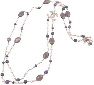 Chanel Faux Pearl 2-Strand Necklace Purple/Brown