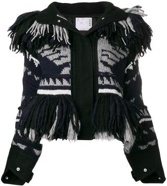 Sacai fringed patterned jacket