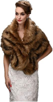 FOLWEP Bridal Wedding Faux Fur Jacket/ Wrap/shawls for Wedding/Party/Show