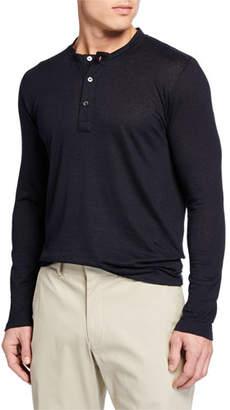 Neiman Marcus Men's Linen-Blend Henley Shirt