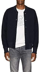 RRL Men's Knit Cotton-Wool Baseball Jacket-Navy