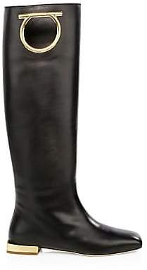 Salvatore Ferragamo Women's Avio Leather Knee-High Boots