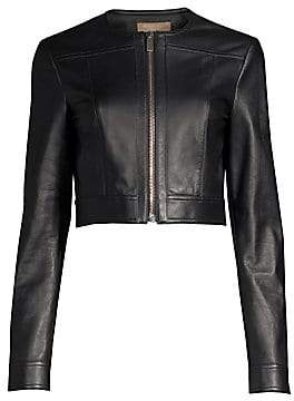 Michael Kors Women's Cropped Leather Jacket