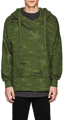NSF Men's Distressed Camouflage Cotton French Terry Hoodie - Green Size M