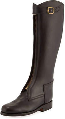 Chufy Zip-Front Leather Riding Boot, Brown