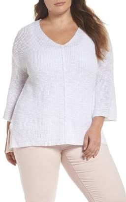 Caslon Hidden Snap V-Neck Sweater