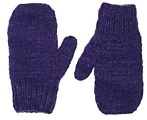 The Elder Statesman Women's Brushed Cashmere Mittens-Blue