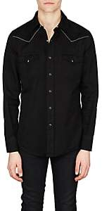 Saint Laurent Men's Logo-Embroidered Cotton Western Shirt - Black
