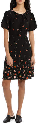 Basque Gradual Floraltulip Sleeve Dress