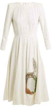 Toga Embellished cut-out stretch-crepe dress