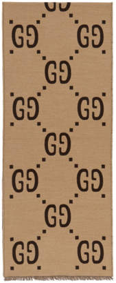 Gucci Brown and Beige GG Wool Scarf