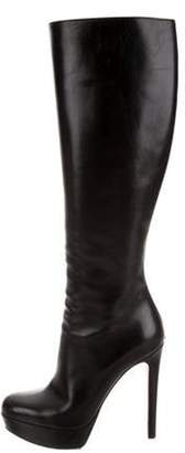 Christian Dior Leather Knee-High Heels Black Leather Knee-High Heels