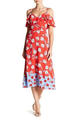 London Times Dual Print Cold Shoulder Midi Dress