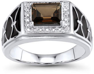 FINE JEWELRY Mens Genuine Smoky Quartz and Diamond-Accent Sterling Silver Comfort Fit Ring