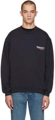 Balenciaga Navy Campaign Logo Sweatshirt