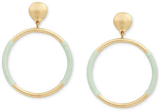 Lucky Brand Gold-Tone Wrapped Drop Hoop Earrings