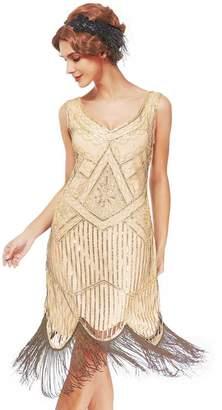Uniq Sense xs-3xl Women's Vintage Roaring 20s Gatsby Dresses (, XS)