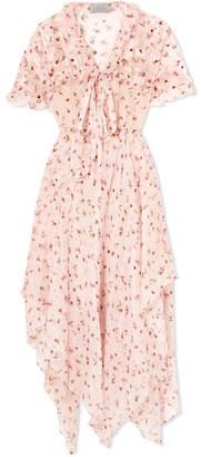 Preen by Thornton Bregazzi Flora Floral-print Silk-chiffon Midi Dress - Pastel pink