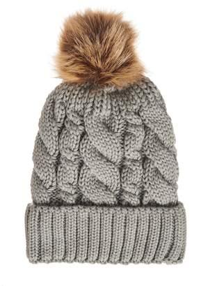 c00564a100b Dorothy Perkins Womens  Quiz Grey Pom Pom Cable Knit Hat