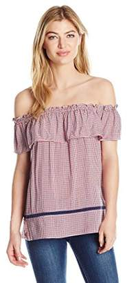 Max Studio Women's Checkered Off The Shoulder Blouse