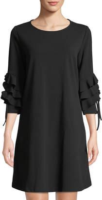 Neiman Marcus Ruffle-Tiered 3/4-Sleeve Shift Dress
