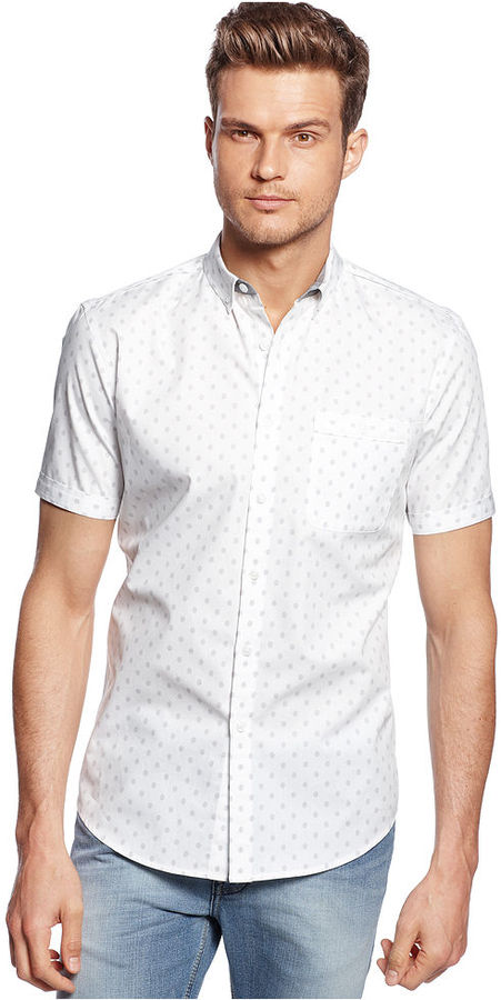 INC International Concepts Shirt, Short Sleeve Slim Fit Polka Dot Shirt