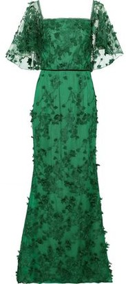 Marchesa Off-the-shoulder Floral-appliqued Embroidered Tulle Gown