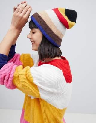 Mads Norgaard Fleece Striped Beanie