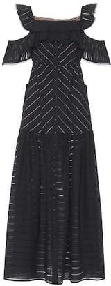 Self-Portrait Embroidered Stripe cotton maxi dress