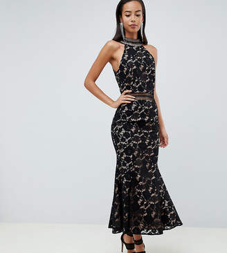 Jarlo Tall high neck allover cutwork lace midaxi dress in black