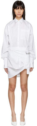Helmut Lang White Shayne Oliver Striped Pull Up Shirt Dress