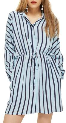 Topshop Drawstring Stripe Shirtdress