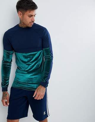 Asos DESIGN Longline Muscle Long Sleeve T-Shirt With Velour And Jersey Panelling In Navy