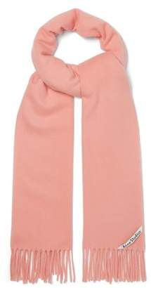 Acne Studios Canada Narrow Fringed Wool Scarf - Womens - Light Pink