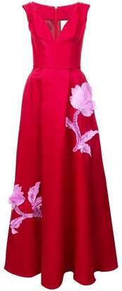 Carolina Herrera floral v-neck gown