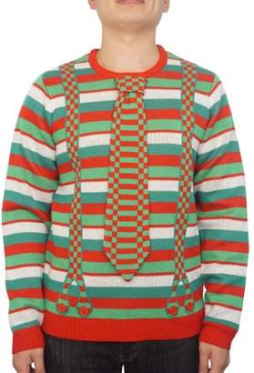Holiday Men's Stripes Tie With Suspenders Ugly Christmas Sweater, Up to size 2XL