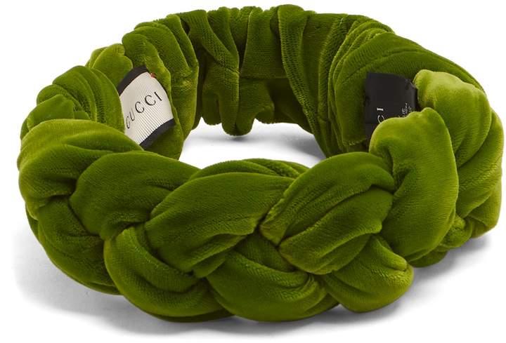 GUCCI Braided-velvet headband