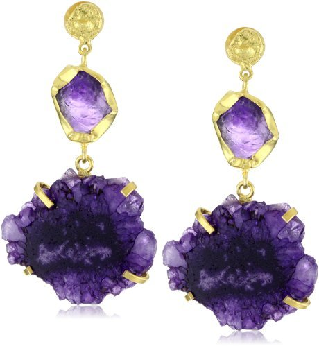 "Zariin ""Duo Stone Spirited"" Purple Druzies Gold Earrings"