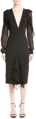 Women's Michael Kors Chiffon Ruffle Sheath Dress $2,395 thestylecure.com