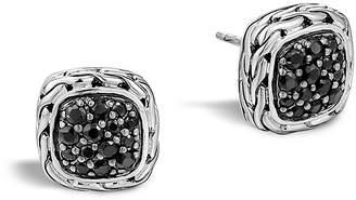 "John Hardy Kali Lava"" Small Square Stud Earrings with Black Sapphire"